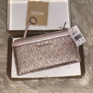 NWT🏷Michael Kors LG slim card case pink/rose gold